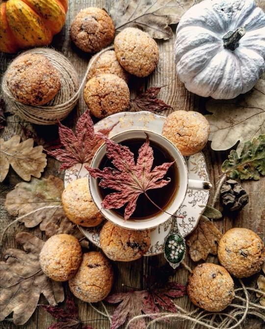 una tazza vista dall'alto posata su un tavolo di legno, con intorno biscotti rotondi e tante foglie