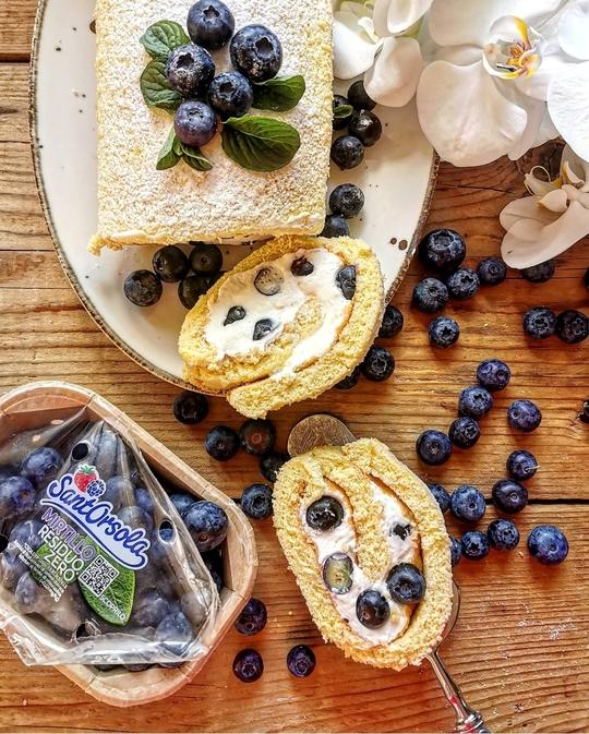 un rotolo dolce visto dall'alto con una fetta tagliata, ripieno di crema bianca, mirtilli e cosparso di zucchero a velo. a lato una vaschetta di mirtilli